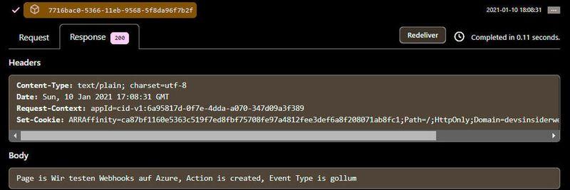 Наша функція Azure аналізує запит веб-хука та повертає відповідь.