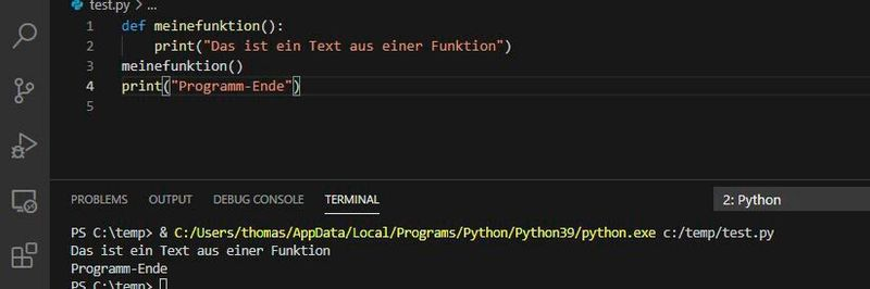 Definition of an own example function, which can be called again within the program code.