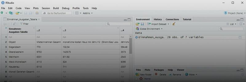 Successfully imported data to RStudio.