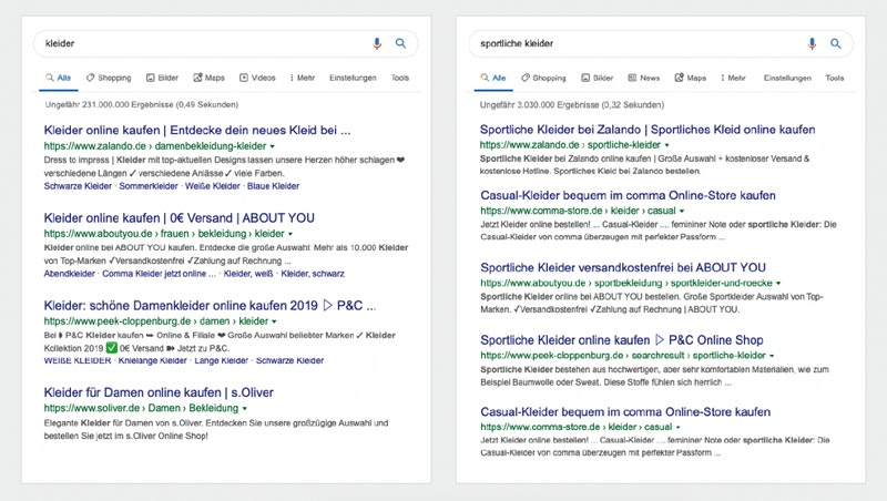 """A provider like """"comma-store"""" has better chances for the keyword """"sporty clothes"""" than for the much more generic keyword """"clothes"""". (Screenshots: Google)"""